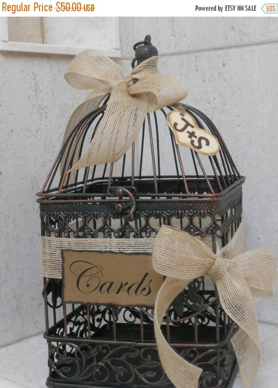 ON SALE Small Birdcage Wedding Card Holder / Rustic Burlap Wedding Card Box