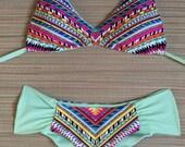 Mint Neon Rave Tribal Print Geometric Scrunch Cheeky Bikini