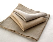 Assorted Beige Linen Cocktail Napkins- Set of 10