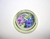 Paperweight, glass paperweight, floral paperweight, paper flowers, magnified paperweight
