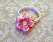 Crochet baby headband size 3 mos - an adorable baby shower gift, available now