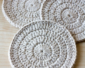 Crochet coasters  set of 4 FLAX Crochet lace coasters Linen coasters Drink coasters Handmade coasters Home decor Home accessories Eco style