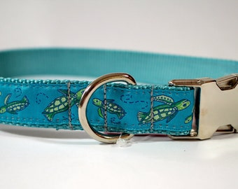 Sea turtle dog collar, turtle collar, teal dog collar, metal buckle, plastic buckle, ocean life collar, pet gift, dog accessory, bozies bags