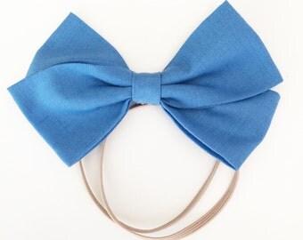 Sky Blue Hair Bow || Blue Bow || Elastic Band || Hair Bow || Hair Clip || Headband