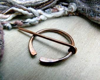 Antiqued Copper Penannular Brooch, Viking Pin, Celtic Pin, Cloak Pin, Anglo Saxon, Shawl Pin, Kilt Pin, Celtic Brooch, Viking Brooch
