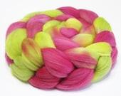 Fine Merino Wool (Top) Roving Spinning Fiber - Approx. 4oz. - Pomegranate Margarita