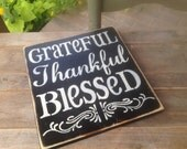 Black and Ivory Grateful, Thankful, Blessed Sign, Fall Home Decor Signs, Fall Hanger