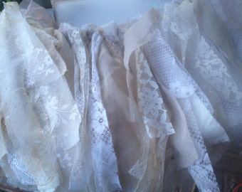 Shabby Chic Tea Stained Fabric Swag, Lace and Fabric Wedding Photo Prop Garland