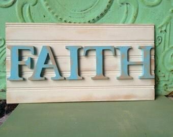 Aqua and Ivory Faith Sign, Wooden Home Decor Signs, Faith Gallery Wall Sign