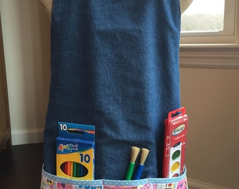 FREE USA SHIPPING, Girl's Personalized Shopkins Apron, Painting apron, Shopkins Art Smock, Shopkins Birthday Party, Lippy Lips, Kooky Cookie