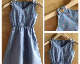 Chambray Pinafore Retro Style Dress, girls size 5