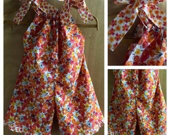 Flowered Boho/Hippie Cotton Pillowcase Shorts Romper, Girls size 7