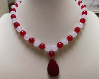 free shipping - jade necklace ,red & white jade necklace, 10mm jade necklace pendant
