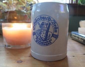 Vintage STONEWARE German Oktoberfest Rustic Heavy Beer Mug From Schönbuch Bräu Brewery