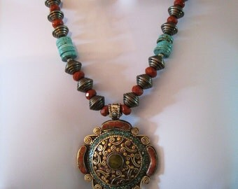Necklace With Tibetan Pendant And Coral And Turquoise Inlays - Red Jasper - Turquoise Discs - Silver Ridged Beads - Bronze Clasp - # 996