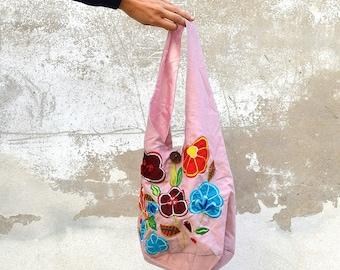 FLOWERS bag, Pink flowers bag, vintage bag, 90s bag