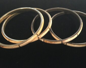 Vintage bone bracelet jewelry lot tribal gypsy boho bangle stacks