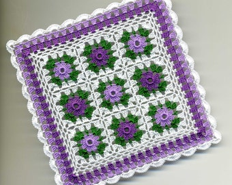 Dollhouse Miniature Afghan Bedspread Cover Throw Violet, Lavender, Green and White - MADE TO ORDER