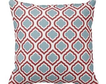 decorative pillows, red blue pillows, pillow covers, red pillows, blue pillows, square pillows, 18 inch pillows, red blue euro shams, lumbar
