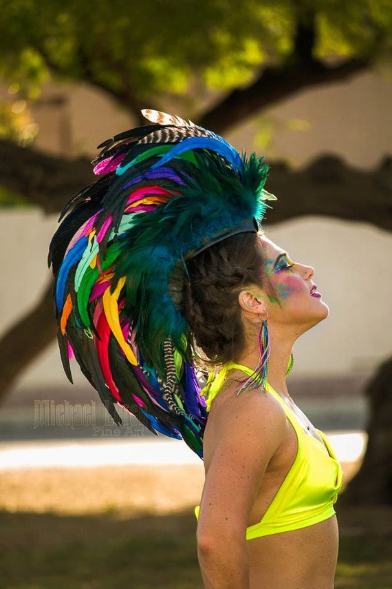 "Feather Mohawk Headdress  - ""Arriana"""