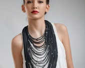 Multi strands textile statement necklace - long multistrands black necklace - multi strands scarf necklace