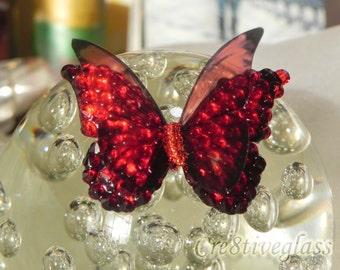 Butterfly Crystal Red iridescent handcrafted embellishment for jewellery, brooch ,special occasion, wedding,birthday gift, art craft