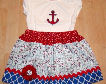 Red White N Blue Anchors ...Girls Top N Skirt sizes 0-3,3-6,6-9,9-12,18,24 Mon. Bigger sizes the shirt will not be a onsie