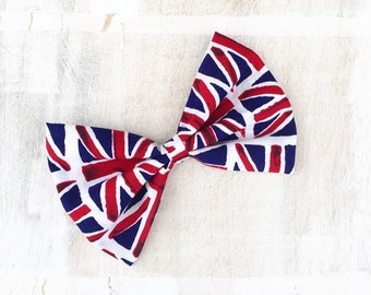 Union Jack, Great Britain Pin up large Hair Bow Clip. Patriotic, Punk, retro