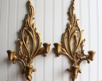Large vintage wooden syroco wall sconce, baroque, rococo, gold wall sconce set of two