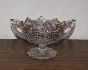 Crystal Two Handle Compote Candy Dish