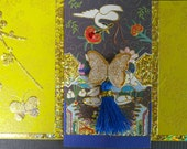 Korean Traditional Designed Envelope with Memo Card - Yellow Butterfly with Tassel