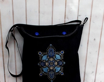 Reserved, tote, market bag, womens book bag folk hungarian  embroidered bag, rose