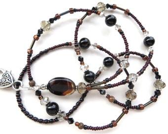 ELEGANT EARTH AGATE- Beaded Id Lanyard- Agate Pendant, Agate Gemstones, Australian Zebra Jasper, & Sparkling Crystals (Comfort Created)