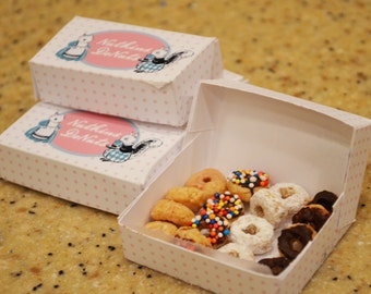 Tiny Donut Box Instant Digital Download,  adorable printable box with instructions for DIY tiny box and how to make tiny donuts