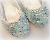 Wedding Bridal Ballet Flat Shoes - chic SOMETHING BLUE white lace - Rhinestone Pearls - bridesmaids - eyelet trim - Shabby vintage inspired