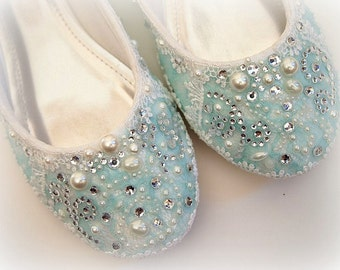 Wedding Bridal Ballet Flat Shoes - chic SOMETHING BLUE white lace - Rhinestone Pearls - bridesmaids - eyelet trim - Shabby vintage inspired