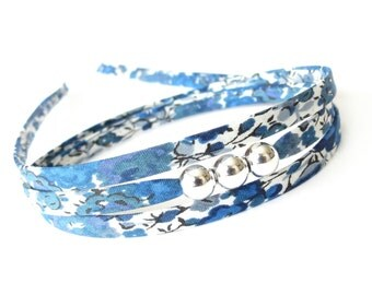 Back to uni gift, blue and white bracelet for young women, cotton fabric wraparound bracelet, individual style accessories