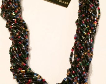 Vintage Multi Stranded Bohemian Glass Necklace