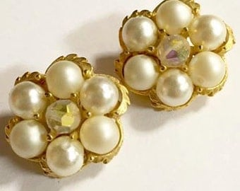 Vintage Faux Pearl with Crystal Center Clip On Earrings
