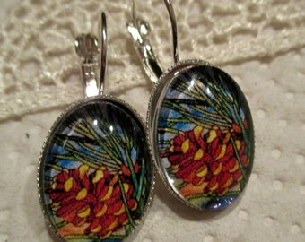 Pine Cone Oval Glass Earrings