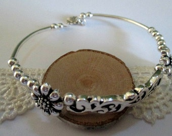 Filigree and Flowers Beaded Silver Bracelet