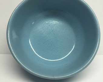 Vintage Frankoma Pottery Blue 6 x Cereal Soup Bowl 5.50  x  2 deep