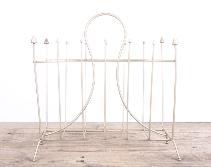 Vintage Gold Magazine Rack / Midcentury Magazine Rack / Wire Magazine Rack / Art Deco Metal Magazine Rack / Book Rack / Antique Old Brass