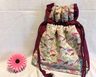 Shoulder Bag - Bird Design with Contrasting Polka Dot - Drawstring