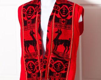 Vintage South American Vest - Llama fringe red black