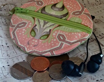 Earbuds Holder - Bumble Bee Coin Purse -Tula Pink Bumble - Key Ring - Detachable - Small Gift - Fully Lined - OOAK - Ready to Ship