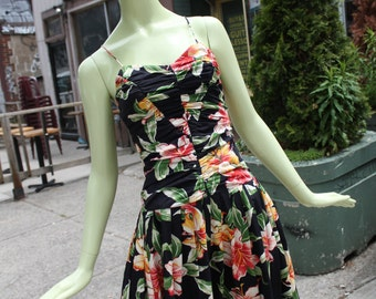 1980s Vintage Sue Wong Floral Party Dress Small
