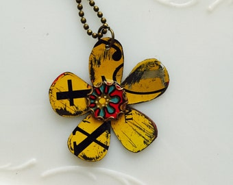 """Tin Jewelry Necklace """"Graphic Flower"""" #1  Tin for the Ten Year Tenth Wedding Anniversary"""