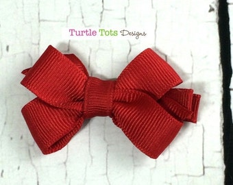 ON SALE Red Toddler Hair Bow - 2 inch Hair Clip - Boutique Bow with No Slip Grip - Baby, Toddler, Girl, Children