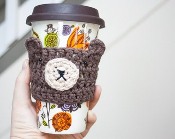 Made to Order Brown Bear Cup Cozy Crochet Cup Cozy Crochet Bears Animals Coffee Mug Cozy Reusable Cup Sleeve Stocking Stuffers Under 10